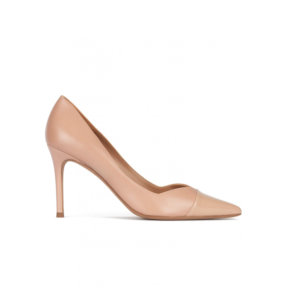 Stiletto heel point-toe pumps in nude leather and patent