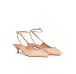 Ankle strap mid heel point-toe pumps in nude leather Pura López