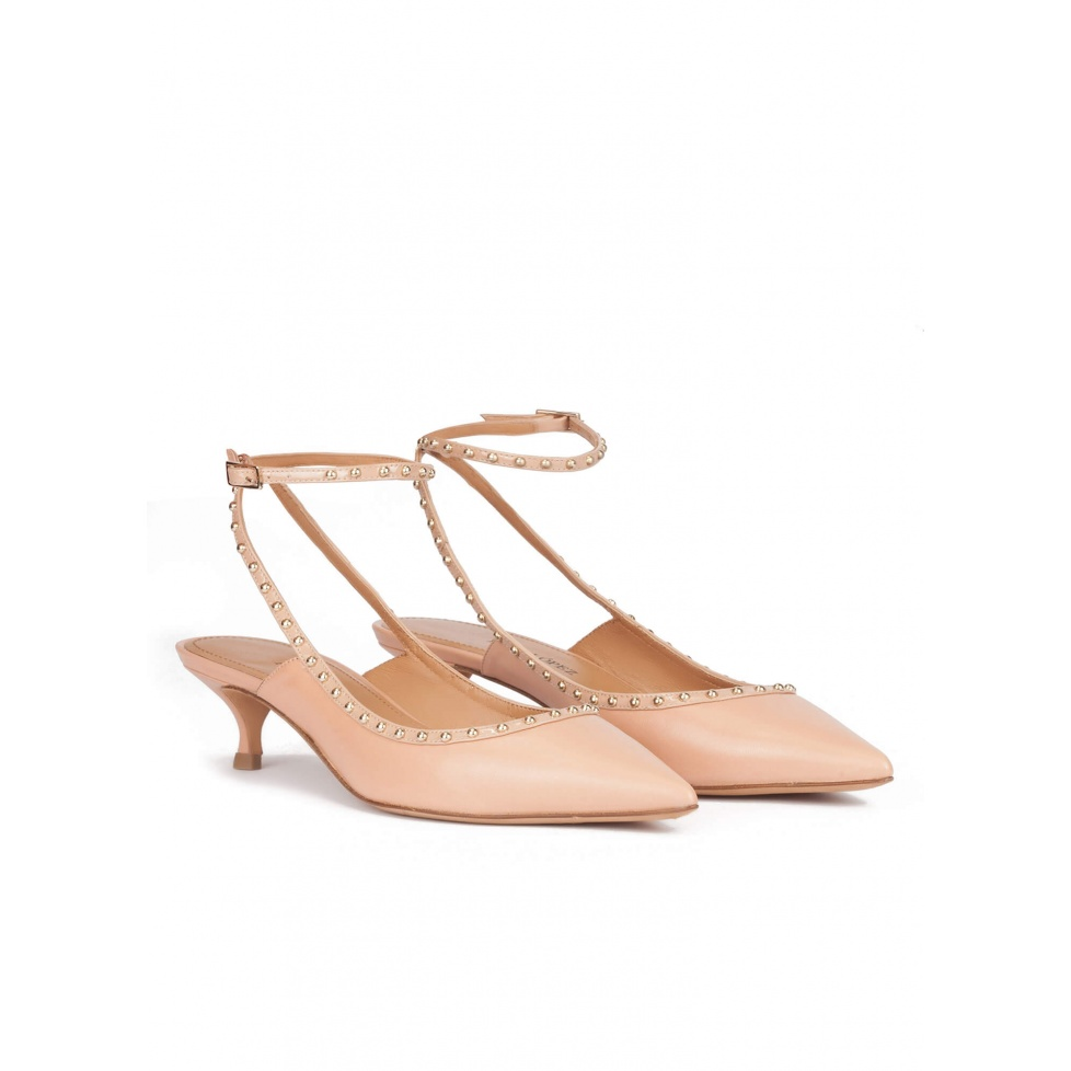 Ankle strap mid heel point-toe pumps in nude leather