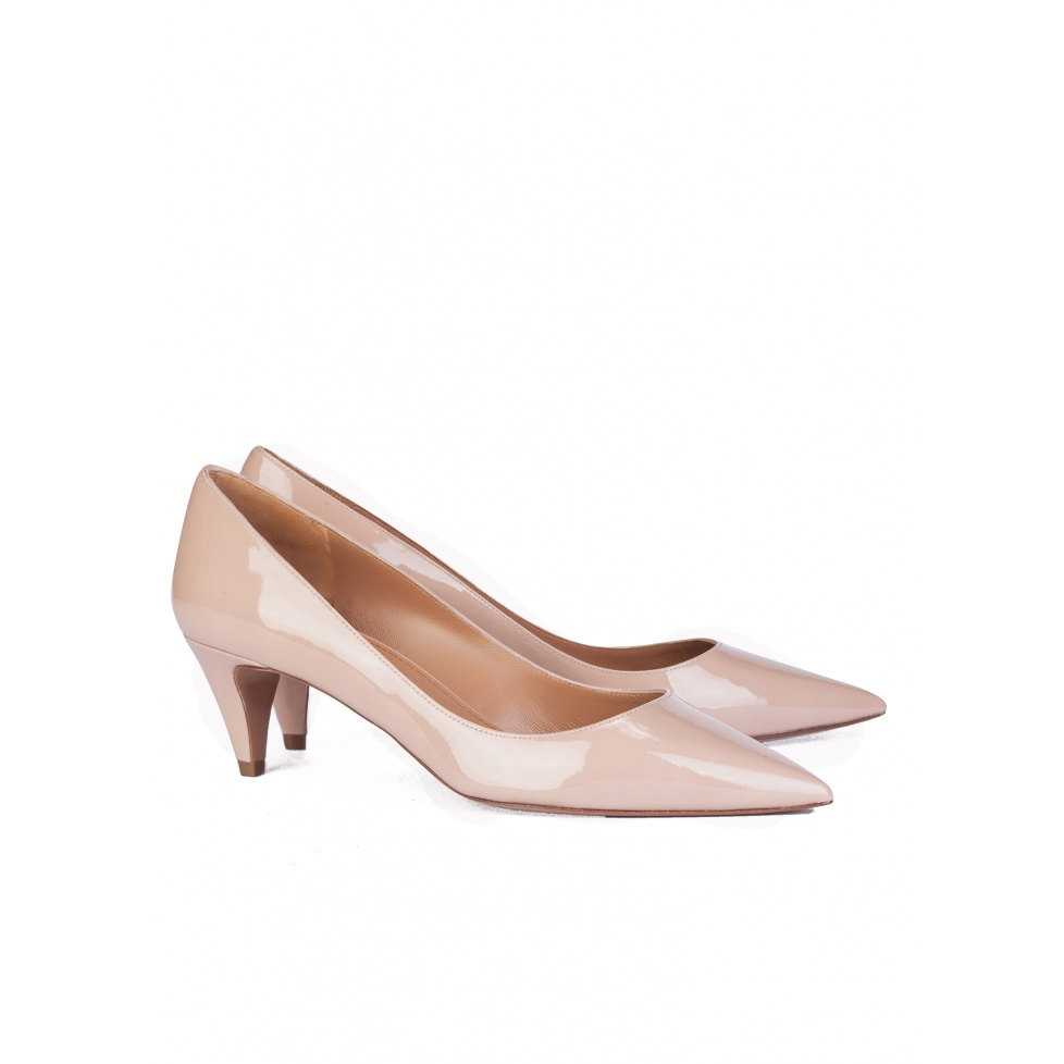 Mid heel pump in nude patent leather - online shoe store Pura Lopez