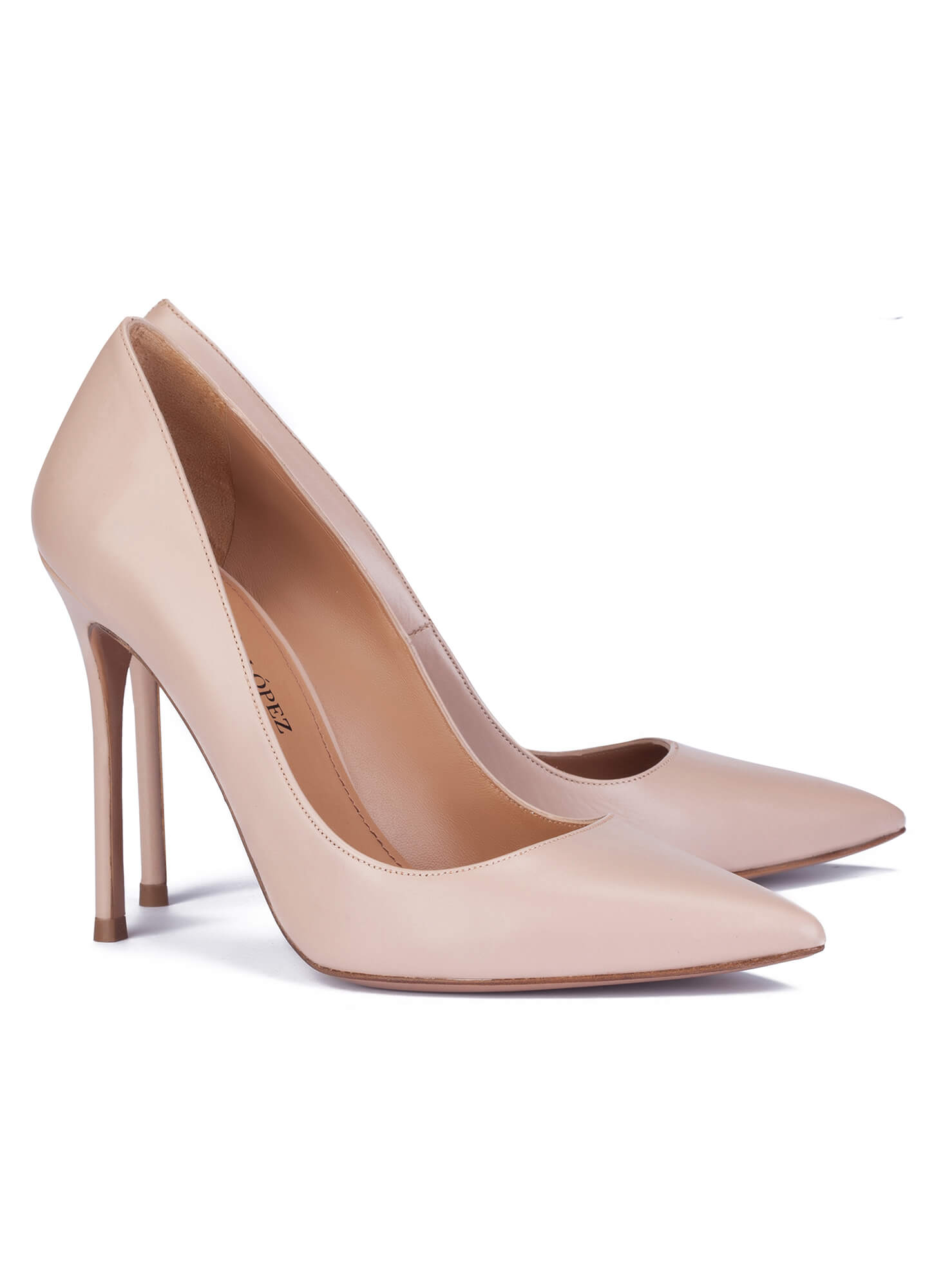 db5dbdd1026c Heeled pumps in nude leather - online shoe store Pura Lopez . PURA LOPEZ