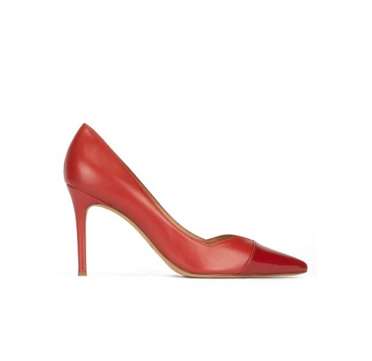 Stiletto heel point-toe pumps in brick-red leather Pura López