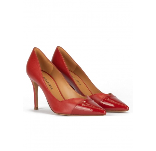 Stiletto heel point-toe pumps in brick-red leather Pura L�pez