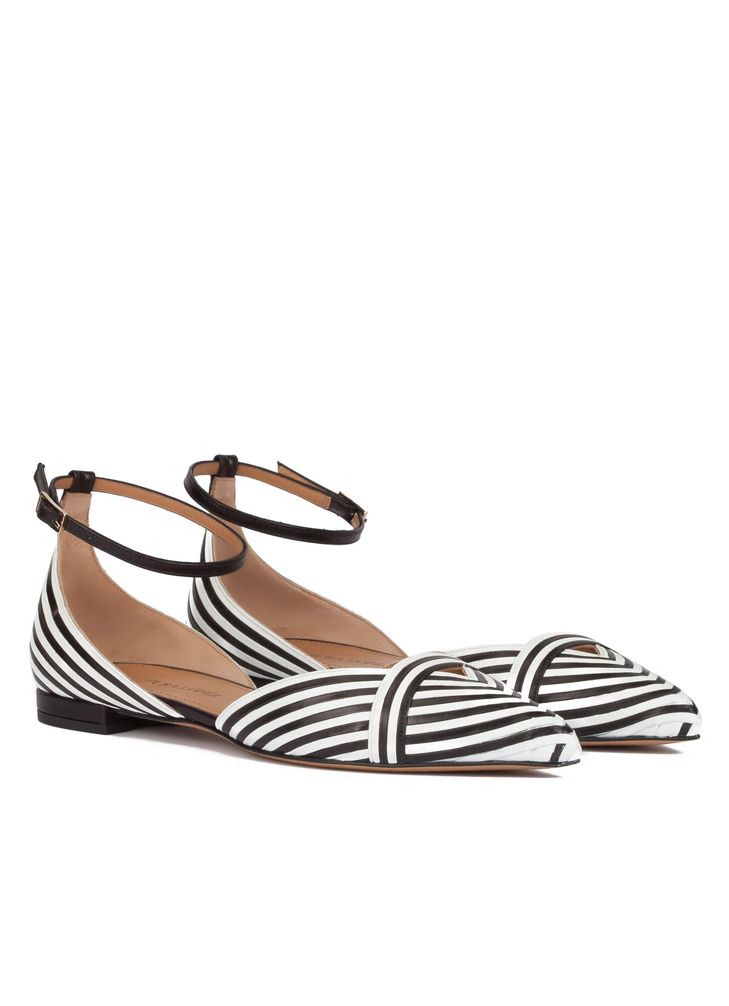 bd4c7626c18 Opaline Pura López. Ankle strap point-toe flats in black and white leather  ...