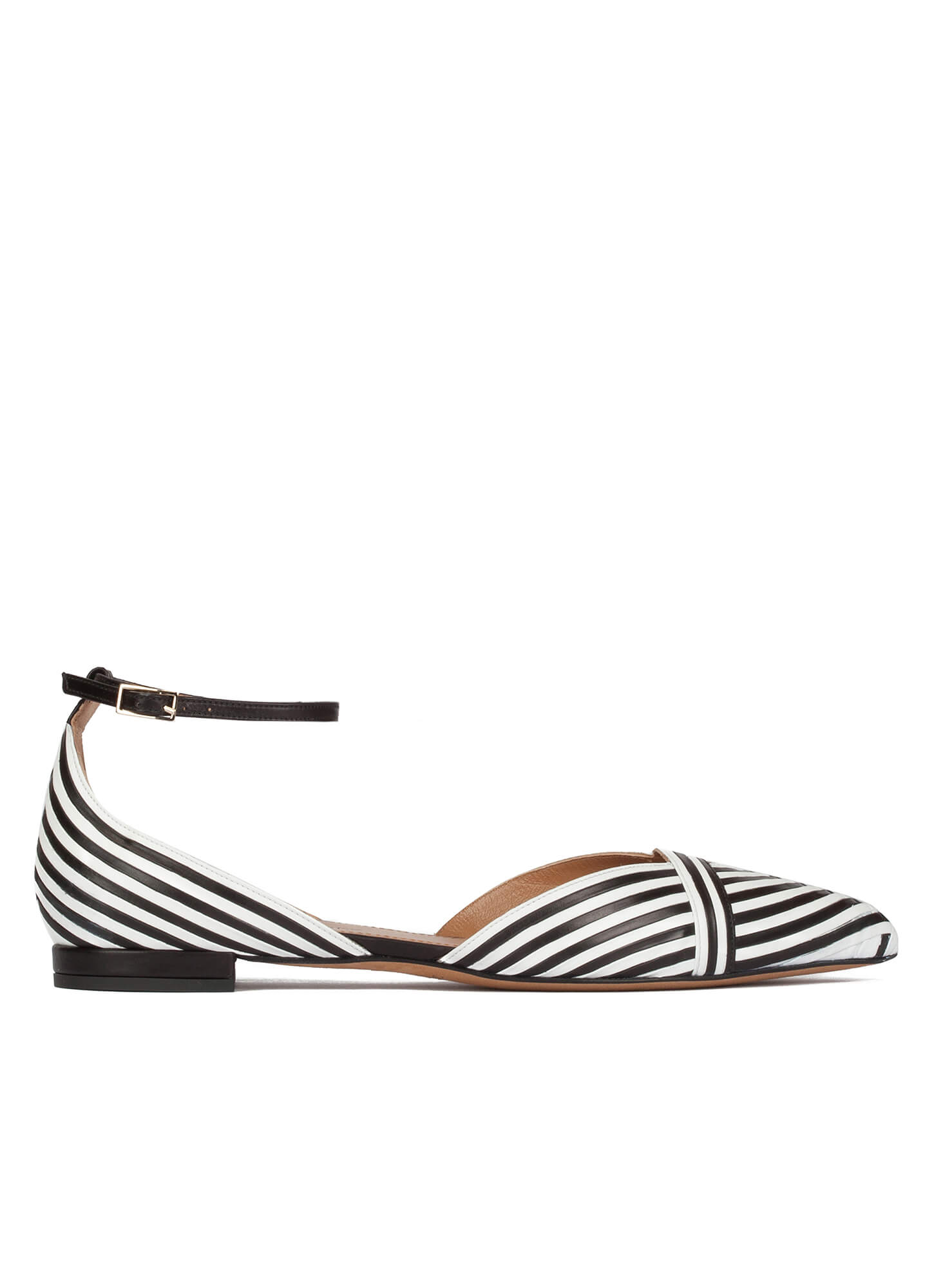 075a57f6436 Ankle strap point-toe flats in black and white leather. Opaline Pura López