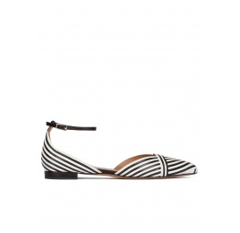 Ankle strap point-toe flats in black and white leather Pura López