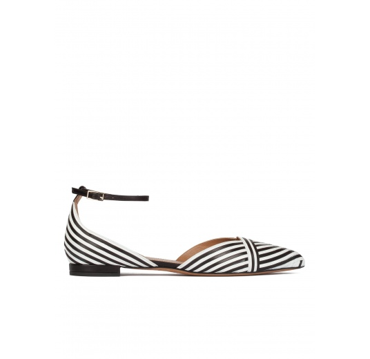Ankle strap point-toe flats in black and white leather Pura L�pez