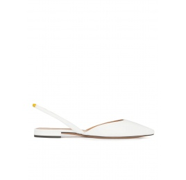 Slingback pointy toe flats in white leather Pura López