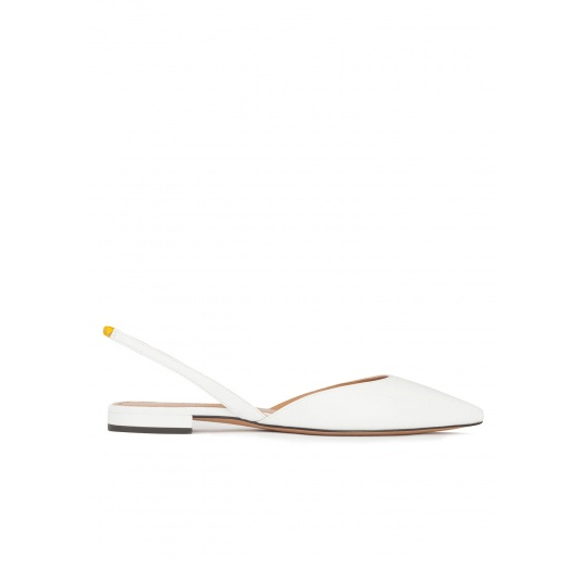 Slingback pointy toe flats in white leather Pura L�pez