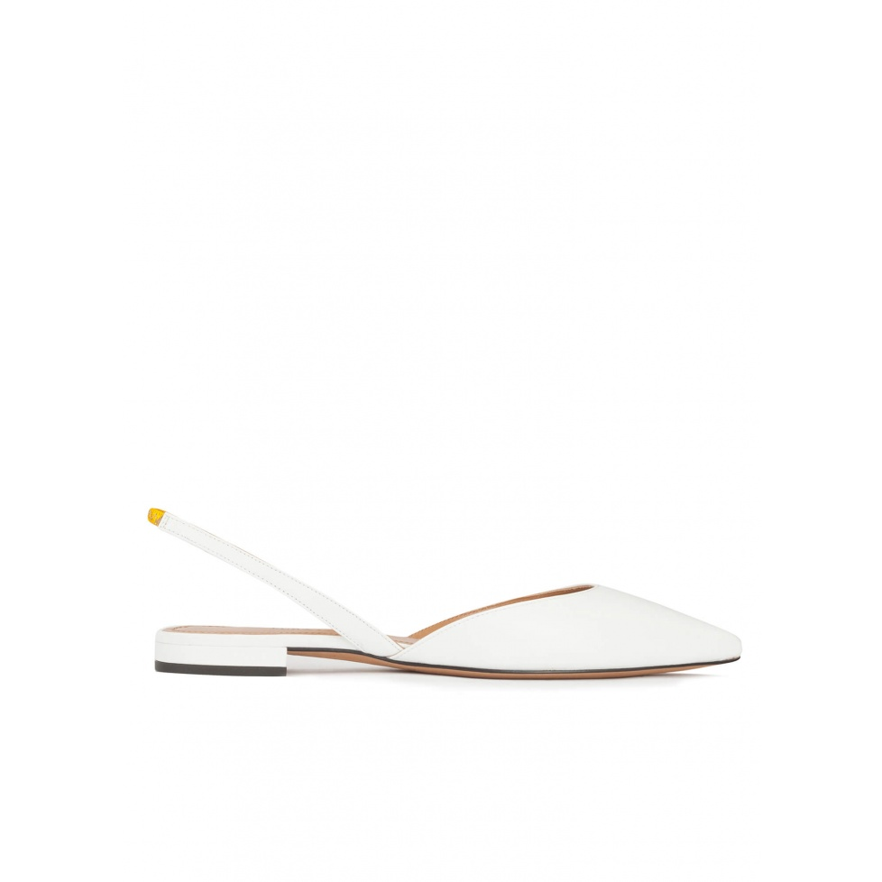 Slingback pointy toe flats in white leather