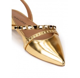 Slingback point-toe flats in gold mirrored leather Pura López