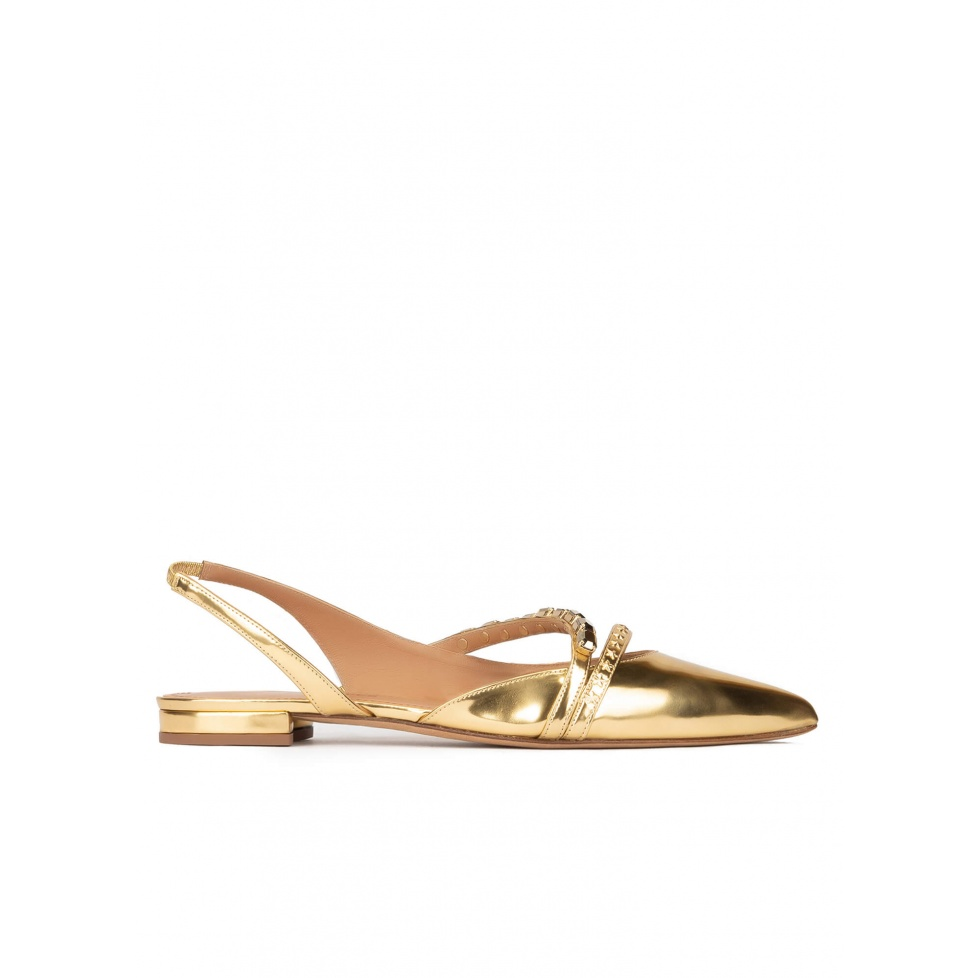 Slingback point-toe flats in gold mirrored leather