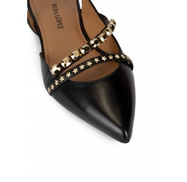 Slingback point-toe flat shoes in black leather Pura López