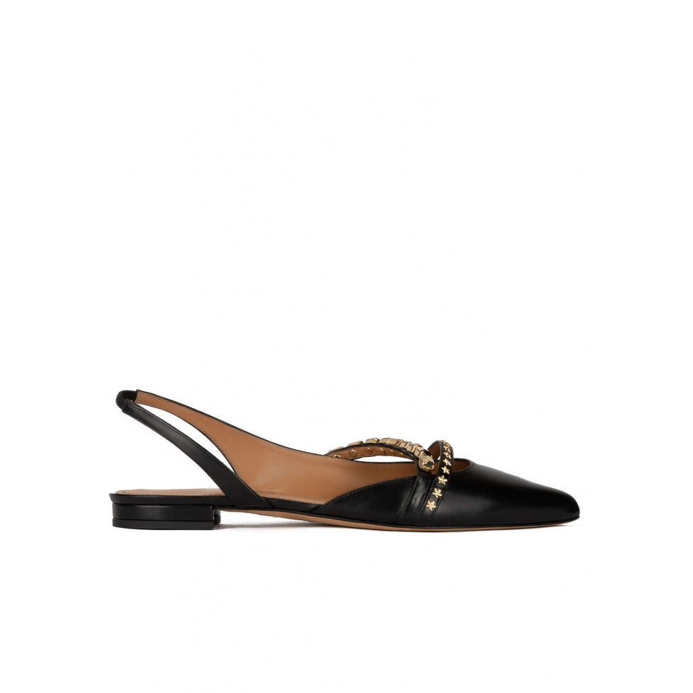 Slingback point-toe flat shoes in black leather