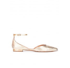 Ankle strap pointy toe flats in silver and gold leather Pura López