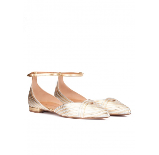 Ankle strap pointy toe flats in silver and gold leather Pura L�pez