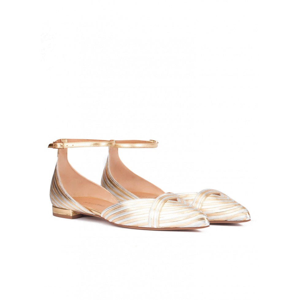 Ankle strap pointy toe flats in silver and gold leather