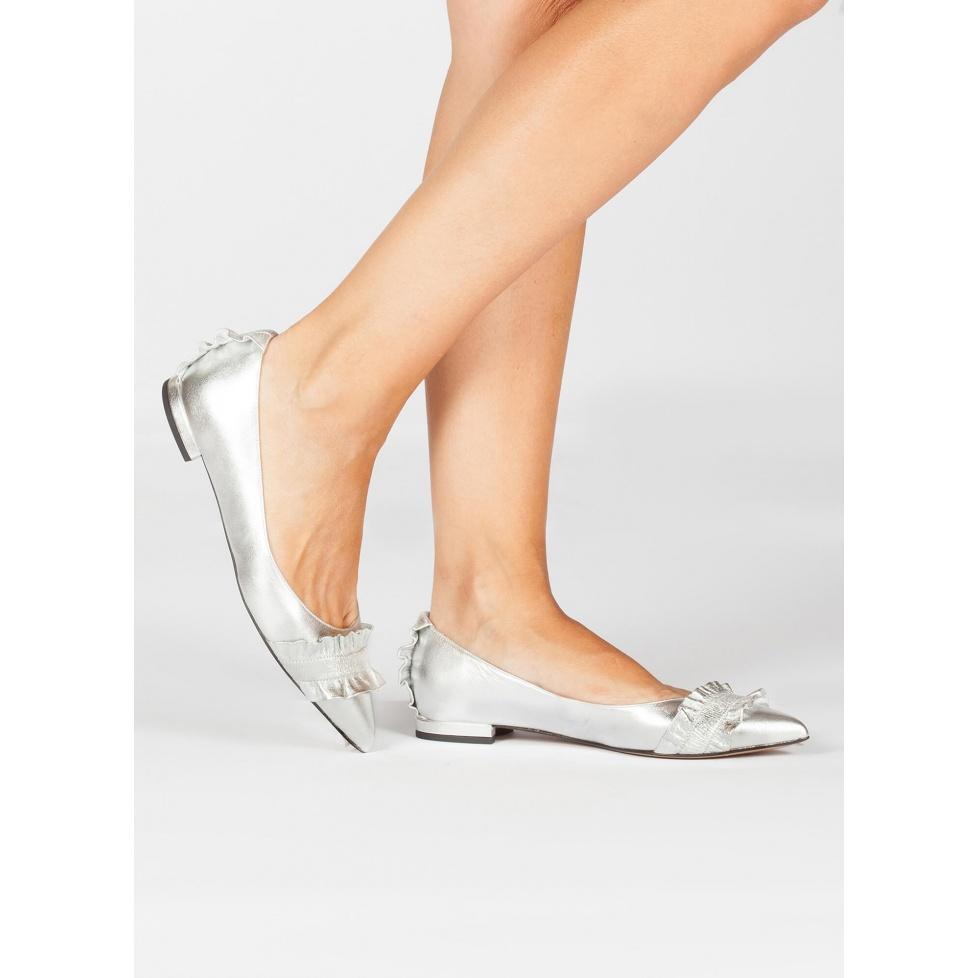 Silver ruffled pointed toe flats