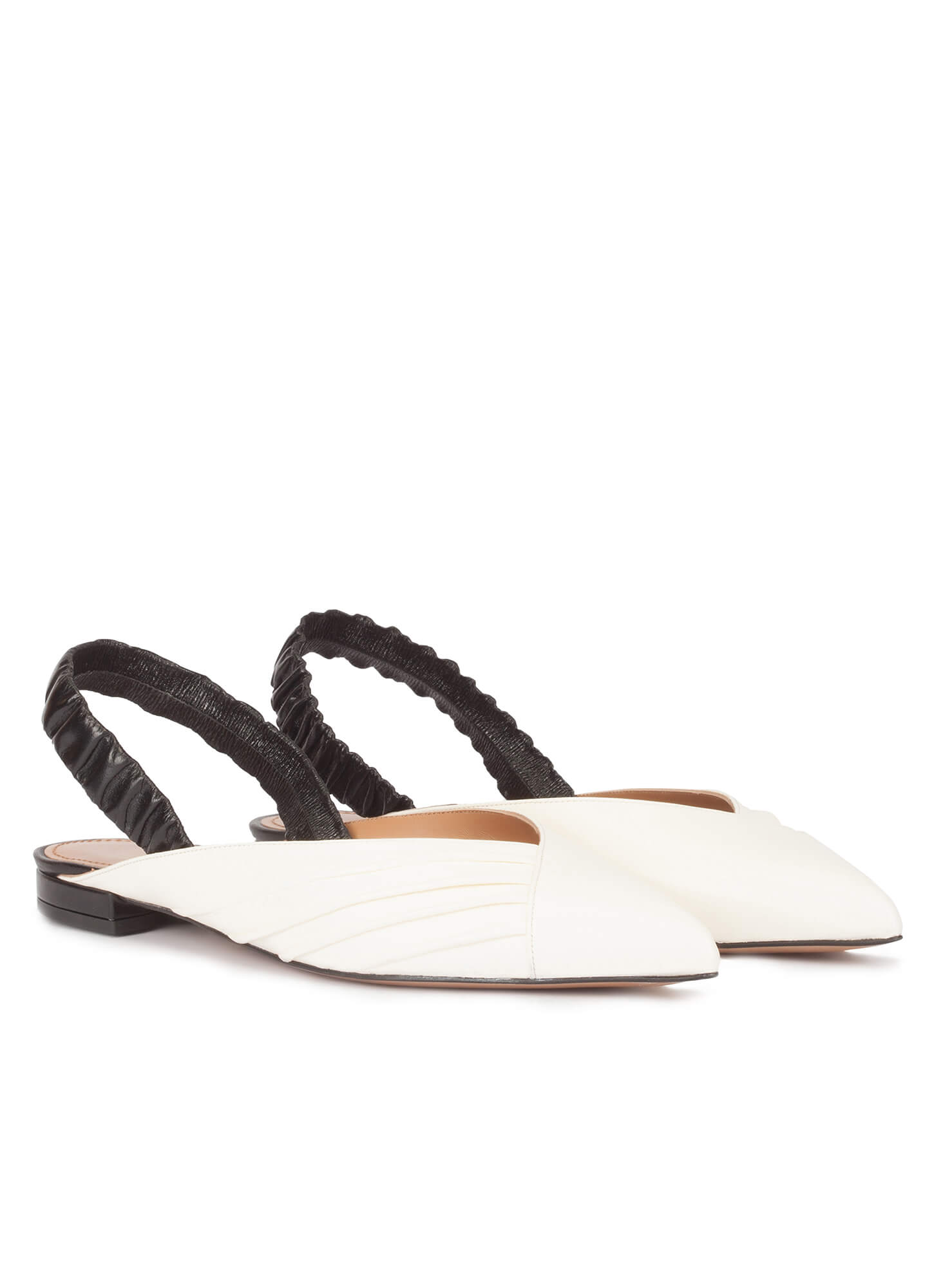 578d896fec7 Slingback point-toe flats in white and black leather . PURA LOPEZ