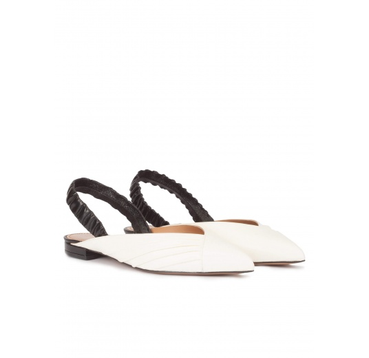 Slingback point-toe flats in white and black leather Pura L�pez