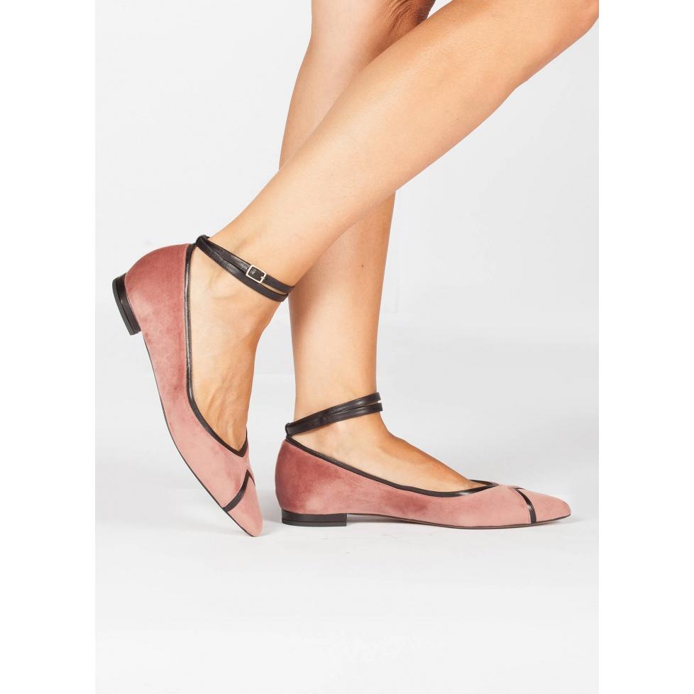 Nude ankle strap point toe flats - online shoe store Pura Lopez