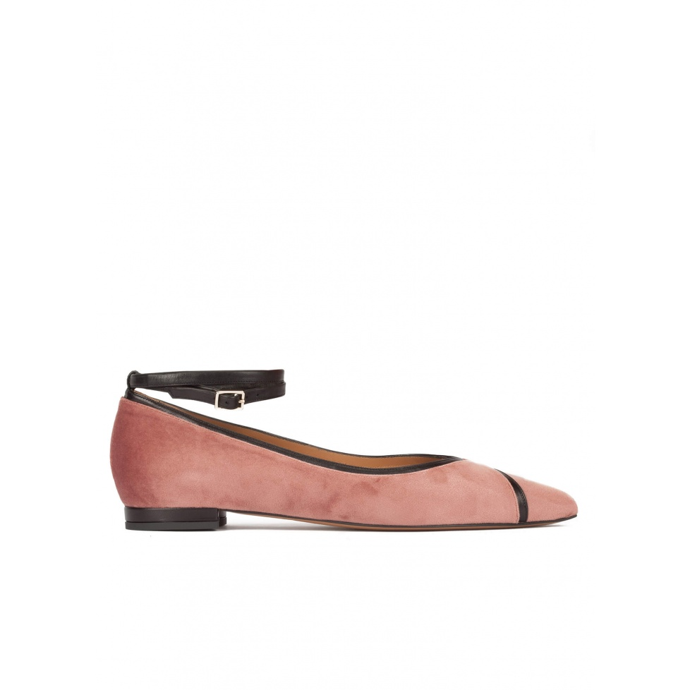 Ankle strap point-toe flat shoes in nude velvet