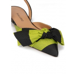 Slingback pointy toe flats in green and black fabric Pura López
