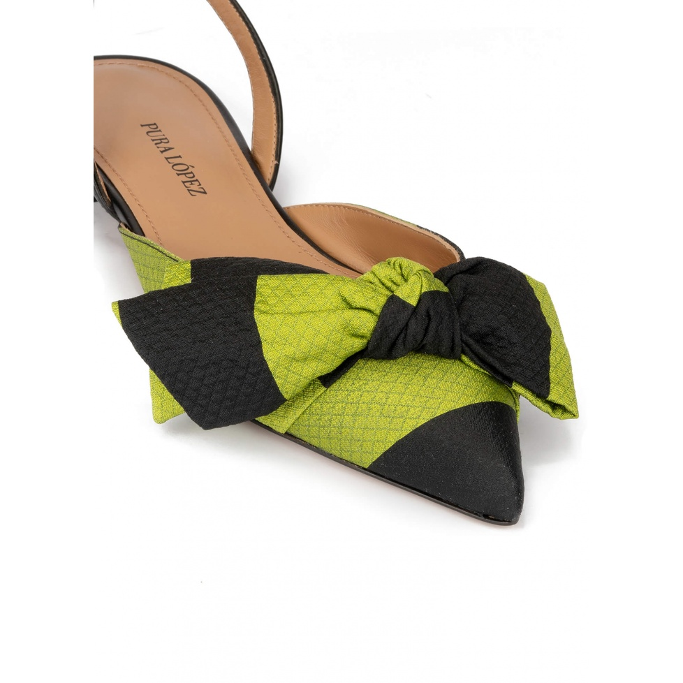 Slingback pointy toe flats in green and black fabric