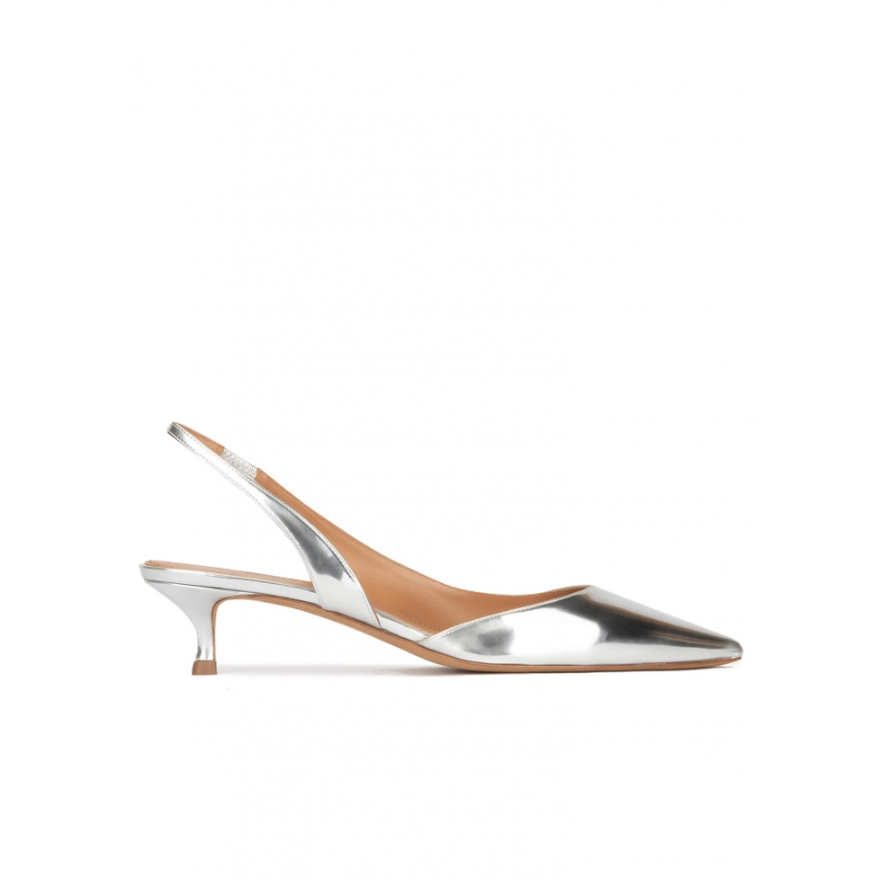 Slingback kitten heel pumps in silver mirrored leather