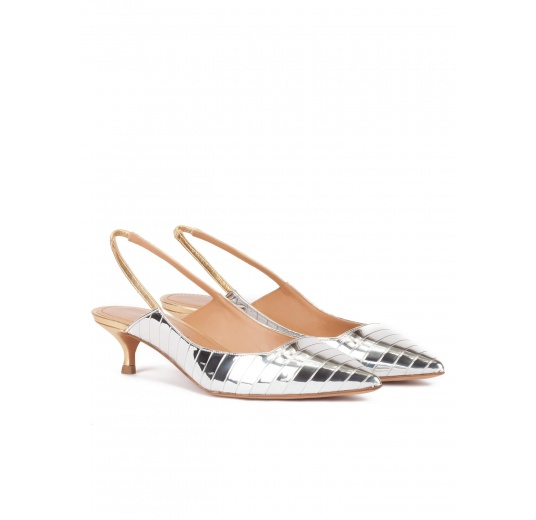 Slingback mid heel pumps in silver and gold leather Pura L�pez