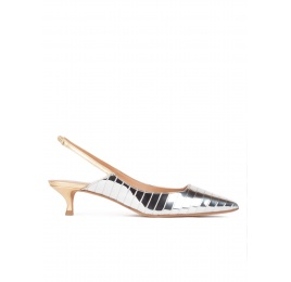 Slingback mid heel pumps in silver and gold leather Pura López