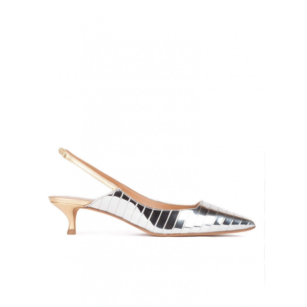 Slingback mid heel pumps in silver and gold leather