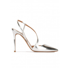 Stiletto heel pointy toe pumps in silver mirrored leather Pura López