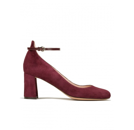 Mid heel shoes in burgundy suede Pura L�pez
