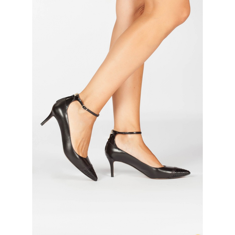 Mid heel pumps in black leather - online shoe store Pura Lopez