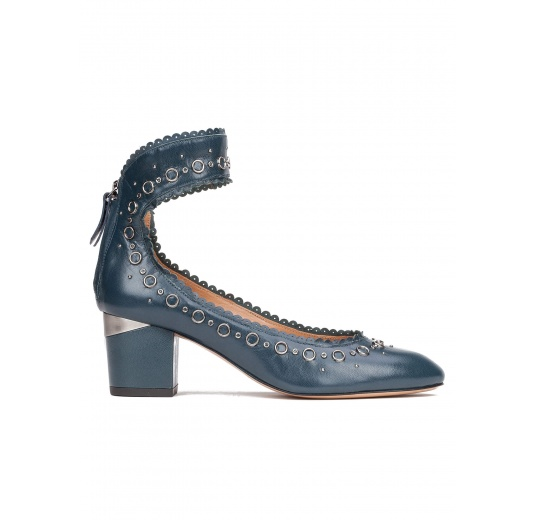 Ankle strap mid heel shoes in petrol blue leather Pura López
