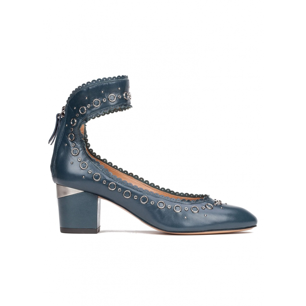 Ankle strap mid heel shoes in petrol blue leather