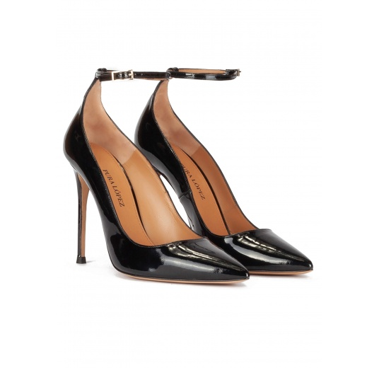 Ankle strap high heel pointy toe shoes in black patent leather Pura L�pez