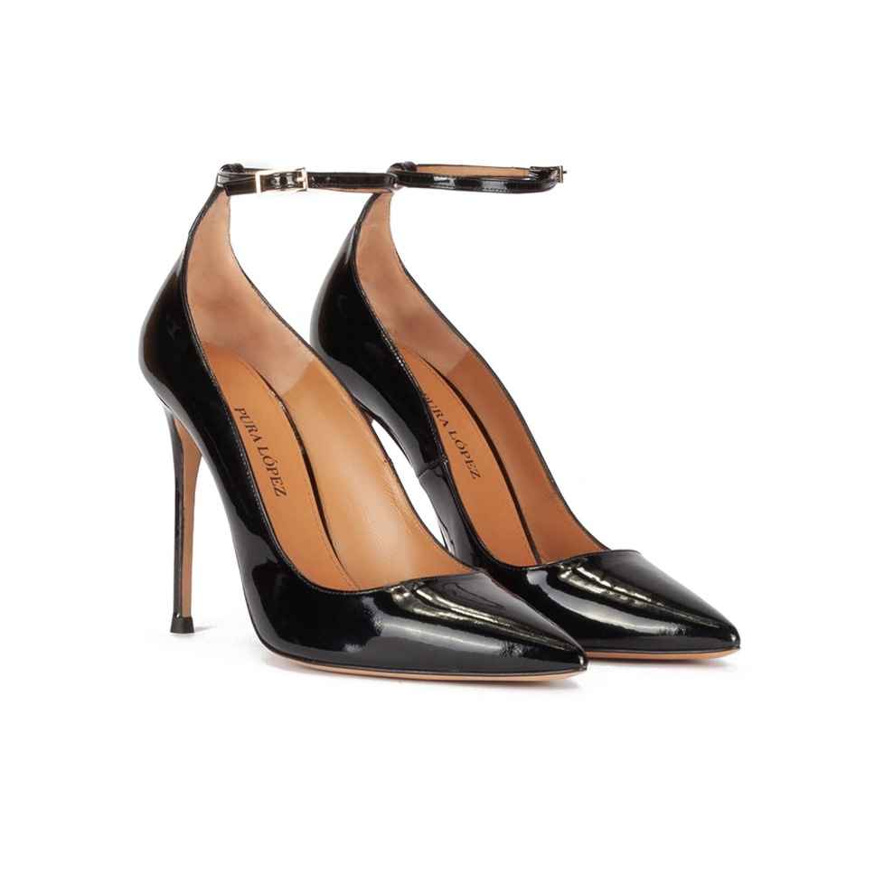 Ankle strap high heel pointy toe shoes in black patent