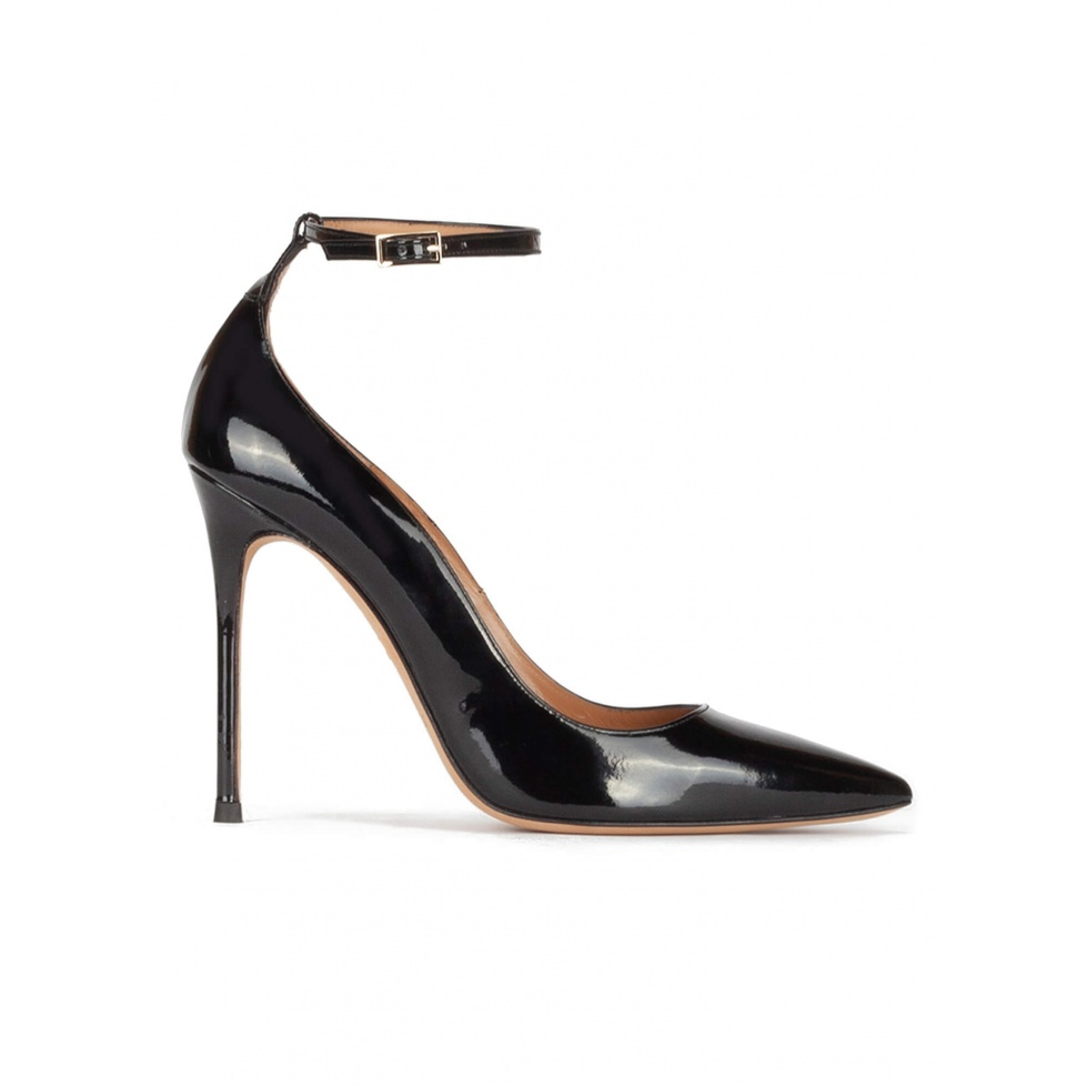 Ankle strap high heel pointy toe shoes in black patent leather