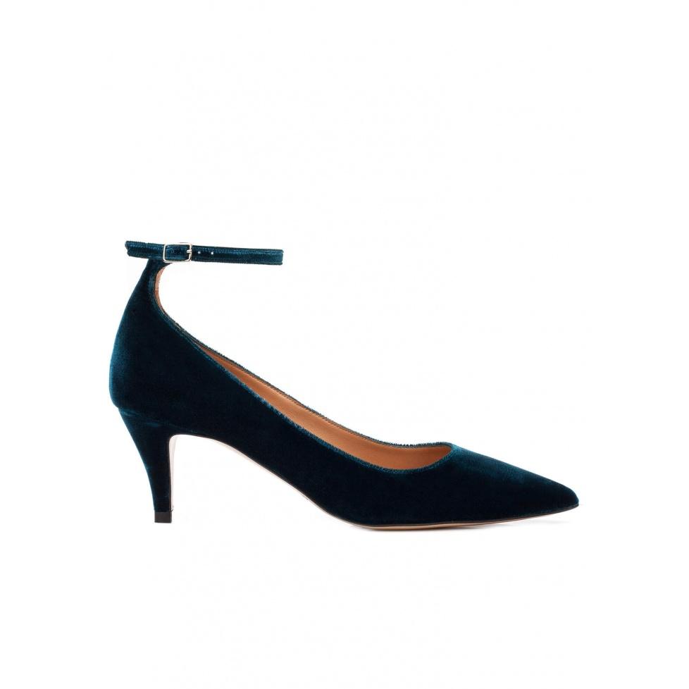 Ankle strap mid heel pumps in petrol blue velvet