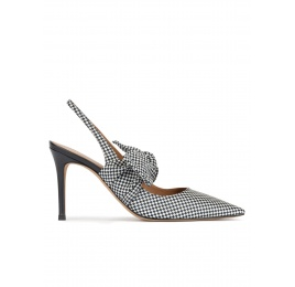 Checked slingback high heel shoes in white and blue fabric Pura López