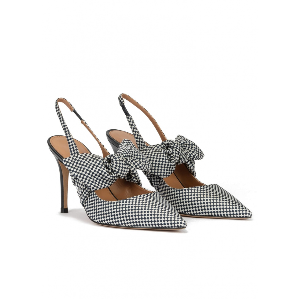 Checked slingback high heel shoes in white and blue fabric