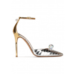 Ankle strap heeled shoes in striped silver fabric Pura López