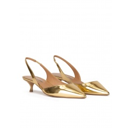 Slingback pumps in gold mirrored leather Pura López