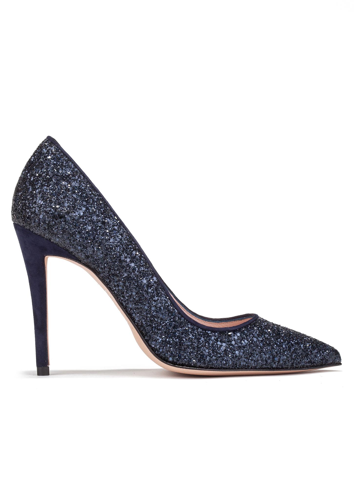High heel pumps in navy blue glitter - online shoe store Pura ...