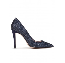High heel pumps in navy blue glitter Pura López