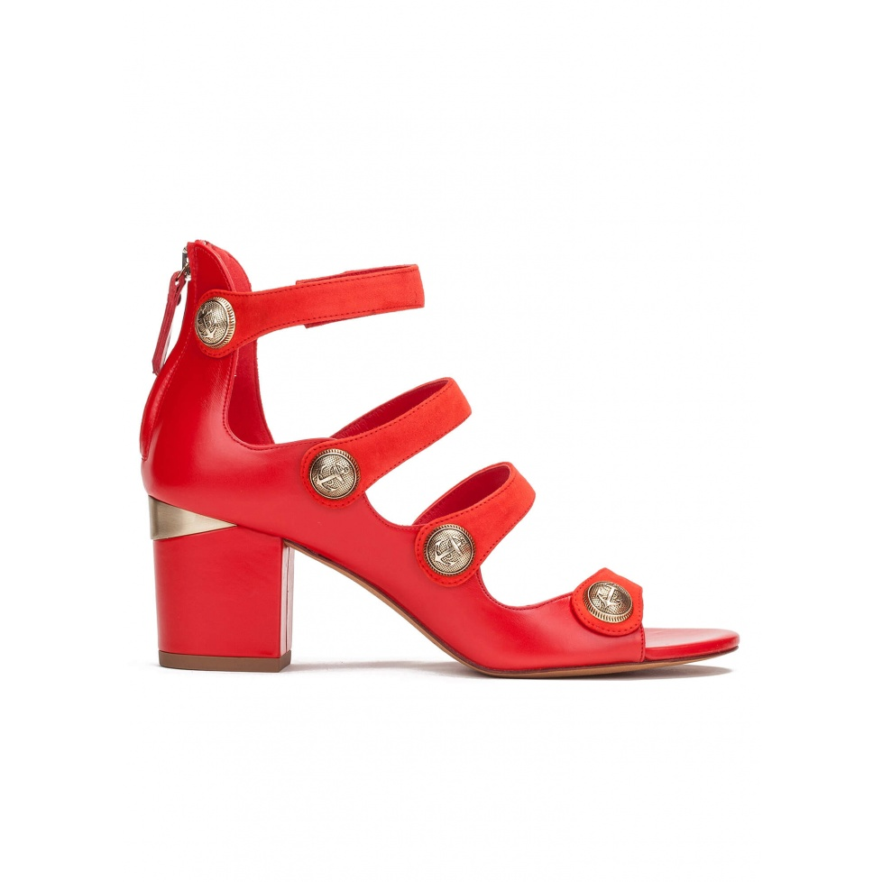 Mid block heel sandals in red leather with metallic buttons