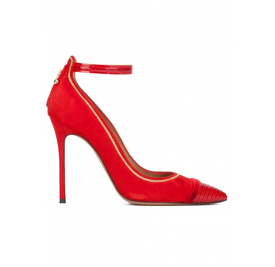 Red suede ankle strap heeled point-toe shoes Pura L�pez
