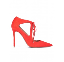 Cutout shoes in red suede with front ties Pura López